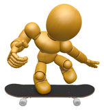 3D Wood Doll Mascot to play skateboard. 3D Wooden Ball Jointed D Stock Images