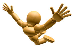 3D Wood Doll Mascot is to play skydiving. 3D Wooden Ball Jointed Royalty Free Stock Images