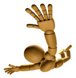 3D Wood Doll Mascot is to play skydiving. 3D Wooden Ball Jointed Stock Photo