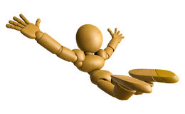 3D Wood Doll Mascot is to play skydiving, on a High Angle Shot. Stock Image