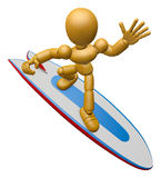 3D Wood Doll Mascot to play a surfboard.. 3D Wooden Ball Jointed Stock Image