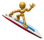 3D Wood Doll Mascot to play a surfboard.. 3D Wooden Ball Jointed Stock Photography