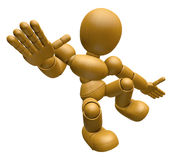 3D Wood Doll Mascot unclasp both hands jumping. 3D Wooden Ball J Royalty Free Stock Images