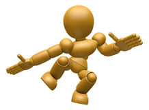 3D Wood Doll Mascot unclasp both hands jumping.  Stock Photography