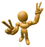 3D Wood Doll Mascot is victory gestures of both hands. 3D Wooden Stock Image
