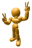 3D Wood Doll Mascot is victory gestures of both hands. 3D Wooden Stock Photos