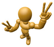 3D Wood Doll Mascot is victory gestures of both hands. 3D Wooden Stock Photo