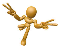 3D Wood Doll Mascot is victory gestures of both hands. 3D Wooden Royalty Free Stock Photo