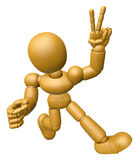 3D Wood Doll Mascot is victory gestures of both hands. 3D Wooden Stock Images