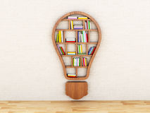 3d Wooden bookshelf in form of bulb. 3d renderer image. Wooden bookshelf in form of bulb. Inspiration, creative and new idea concept Royalty Free Stock Image