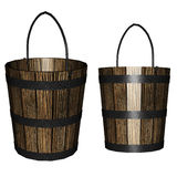 3d wooden bucket Royalty Free Stock Image