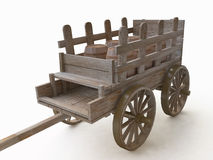 3D Wooden Cart with Barrels Royalty Free Stock Image