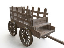 3D Wooden Cart Royalty Free Stock Photography