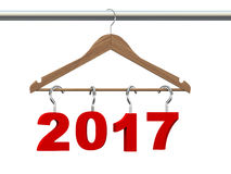 3d wooden cloth hanger year 2017 Stock Photography
