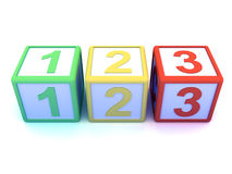 3d Wooden counting blocks. 3d render of wooden counting blocks Stock Image