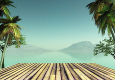 3D wooden deck looking out to a tropical landscape. 3D render of a wooden deck looking out to a tropical landscape Stock Photography
