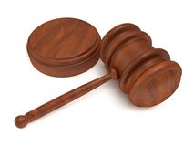 3D Wooden gavel. Judge, Law, Auction concept Stock Photography
