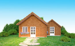 3D wooden home illustration  Royalty Free Stock Photo