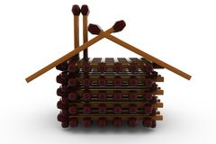 3d wooden house concept Royalty Free Stock Photo