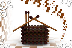 3d wooden house illustration Stock Photography