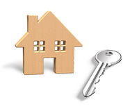 3D wooden house and silver key Royalty Free Stock Photo