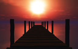 3D wooden jetty at sunset Royalty Free Stock Images
