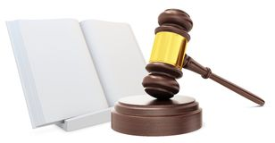 3d wooden judge gavel with open law book Stock Photography