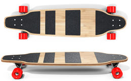 3d wooden longboard, skateboard with red wheels. On white background Royalty Free Stock Photo