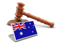 3d wooden mallet and Australian flag Stock Photography