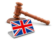 3d wooden mallet and British flag Royalty Free Stock Images