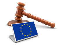 3d wooden mallet and European union flag Stock Photos