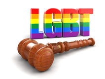 3d wooden mallet with text LGBT. Image with clipping path Stock Photo
