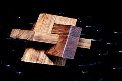 3D wooden object made of built-in polygons stock photos