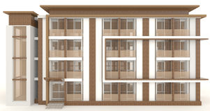 3D wooden office building exterior in white vector illustration