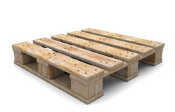 3d wooden pallet. Wooden pallet  on white background. 3d illustration Royalty Free Stock Images