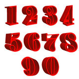 3D wooden red numbers. With white background Stock Illustration