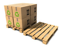 3d Wooden shipping pallets. 3d render of wooden pallets and boxes Royalty Free Stock Images