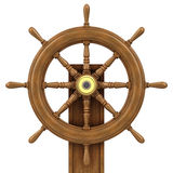 3d Wooden ships wheel Royalty Free Stock Images