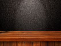 3D wooden table against a black glittery wall. 3D render of a wooden table against a black glittery wall Royalty Free Stock Image