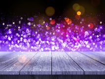 3D wooden table against Christmas background of bokeh lights and stock images