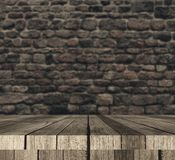 3D wooden table against defocussed brick wall. 3D render of a wooden table against defocussed brick wall Royalty Free Stock Photography
