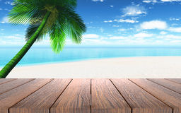 3D wooden table looking out to a beach with palm tree Stock Images