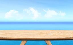 3D wooden table looking out to a blue ocean landscape. 3D render of a wooden table looking out to a blue ocean landscape royalty free illustration