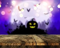 3D wooden table looking out to a spooky Halloween landscape. 3D render of a wooden table looking out to a spooky Halloween landscape Vector Illustration
