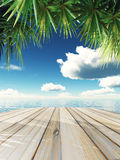 3D wooden table looking out to tropical ocean Royalty Free Stock Image
