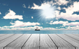 3D wooden table looking out to a yacht on the ocean Stock Photography