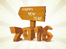 3D wooden text for New Year 2016 celebration. 3D glossy wooden text 2016 on abstract rays background for Happy New Year celebration Stock Photos