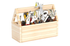 3D Wooden toolbox with tools Stock Images