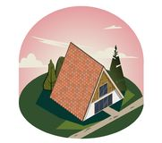 3D wooden triangular house with large Windows. stock illustration
