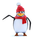 3d Wooly hatted penguin points to the side Royalty Free Stock Images